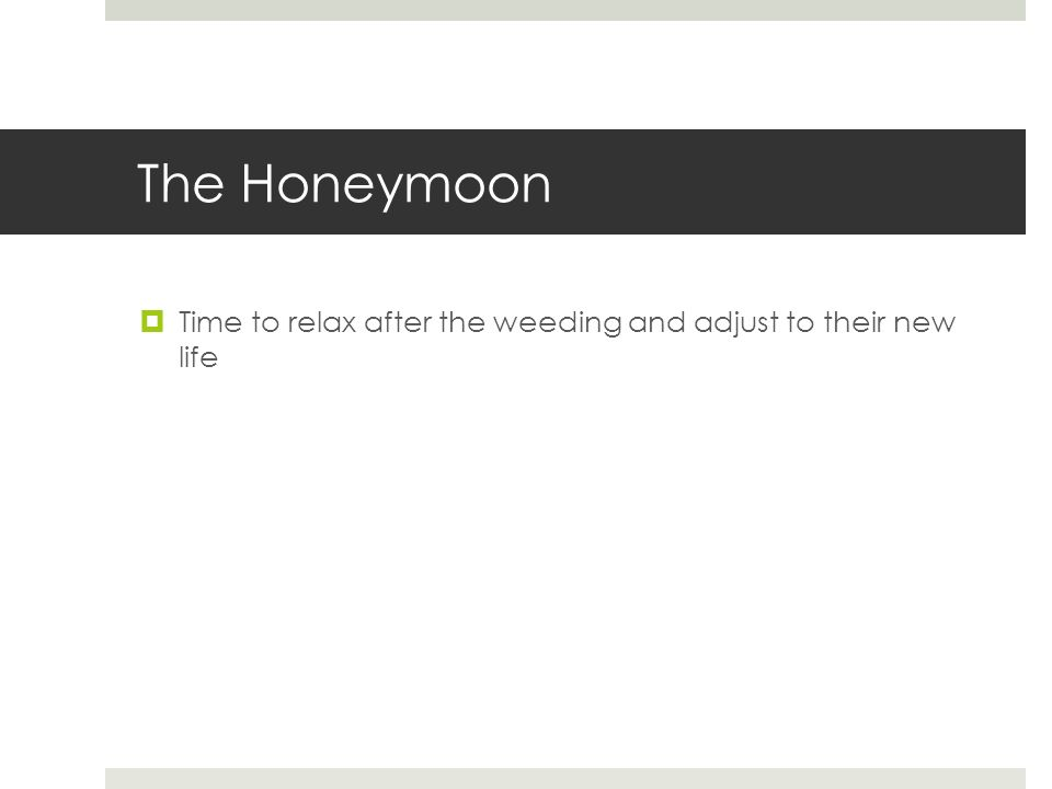 The Honeymoon  Time to relax after the weeding and adjust to their new life