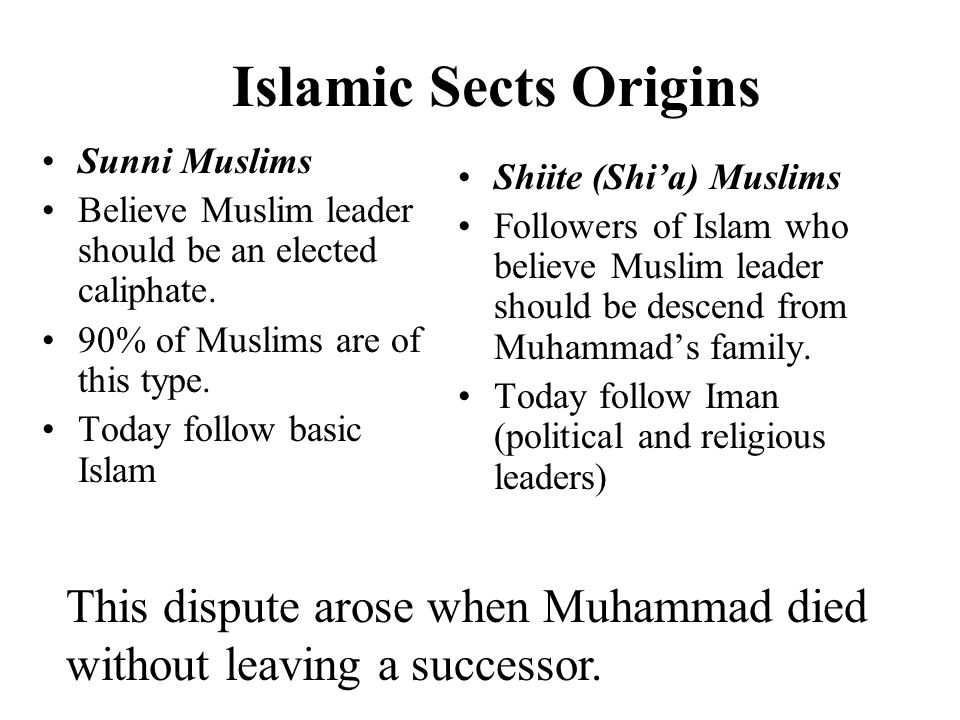Islamic Sects Origins Sunni Muslims Believe Muslim leader should be an elected caliphate.
