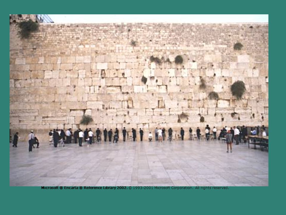 Tony Souter/Hutchison Library Western Wall, Jerusalem Biblical archaeologists believe that the Western Wall in Jerusalem, also known as the Wailing Wall, is all that remains of the Second Temple, which was destroyed in ad 70.