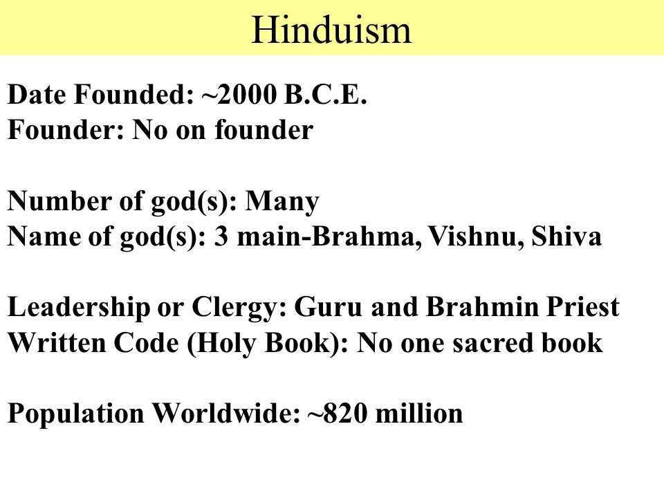 Hinduism Date Founded: ~2000 B.C.E.