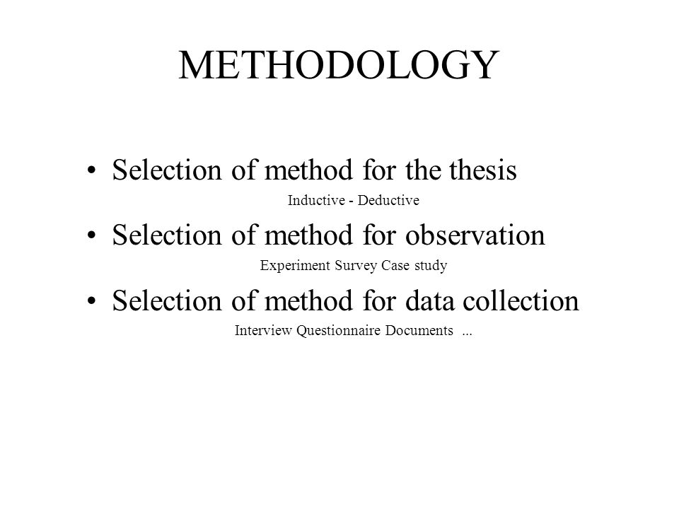 Dissertation Sections Methodology