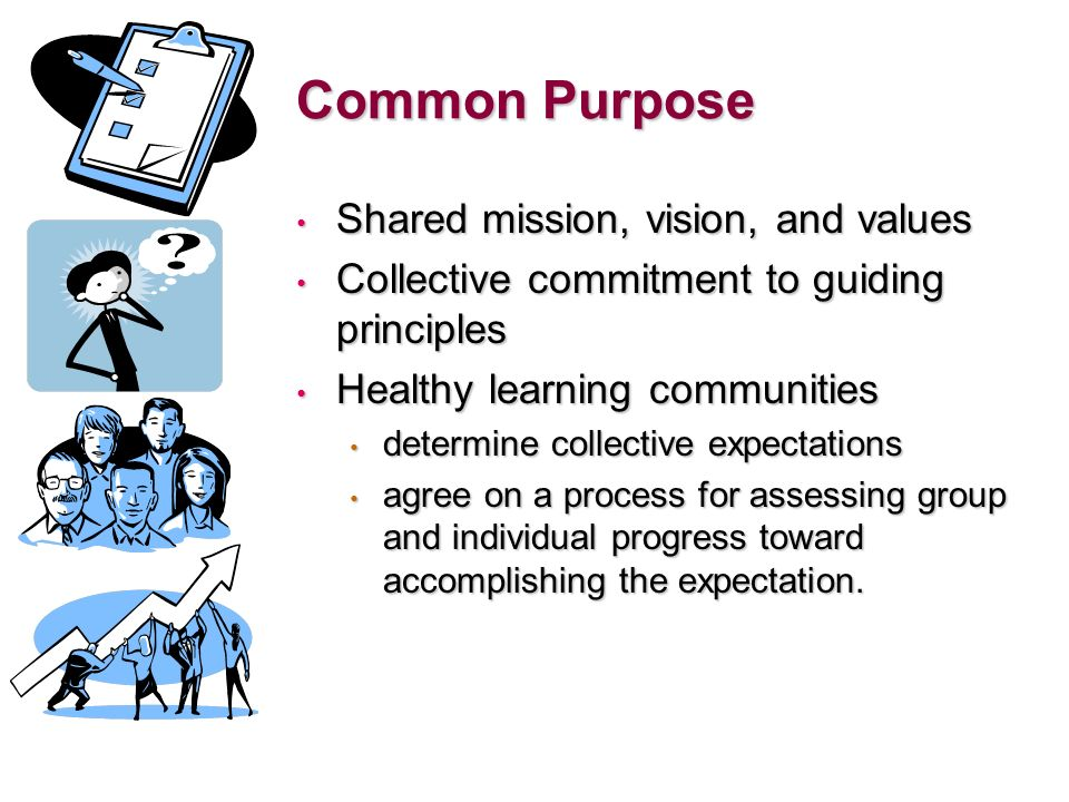 Common Purpose Shared mission, vision, and values Shared mission, vision, and values Collective commitment to guiding principles Collective commitment to guiding principles Healthy learning communities Healthy learning communities determine collective expectations determine collective expectations agree on a process for assessing group and individual progress toward accomplishing the expectation.