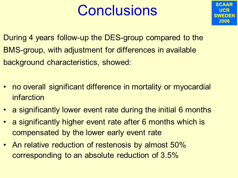 SCAAR UCR SWEDEN 2007 Conclusions During 4 years follow-up the DES-group compared to the BMS-group, with adjustment for differences in available background characteristics, showed: no overall significant difference in mortality or myocardial infarction a significantly lower event rate during the initial 6 months a significantly higher event rate after 6 months which is compensated by the lower early event rate An relative reduction of restenosis by almost 50% corresponding to an absolute reduction of 3.5% SCAAR UCR SWEDEN 2006