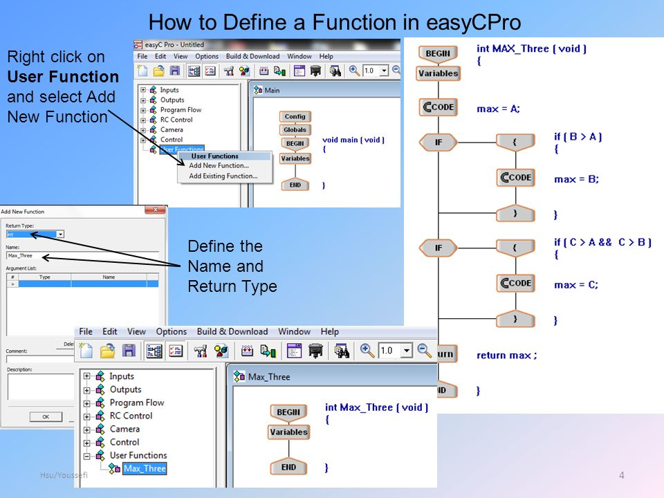 How to Define a Function in easyCPro Right click on User Function and select Add New Function Define the Name and Return Type 4 Hsu/Youssefi