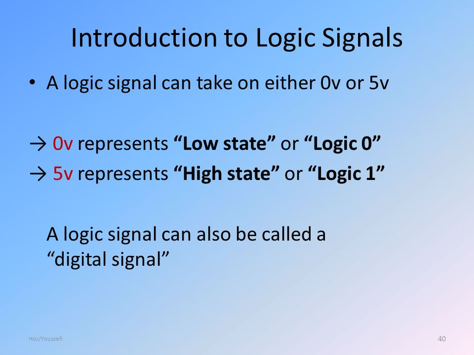 Introduction to Logic Signals A logic signal can take on either 0v or 5v → 0v represents Low state or Logic 0 → 5v represents High state or Logic 1 A logic signal can also be called a digital signal 40 Hsu/Youssefi