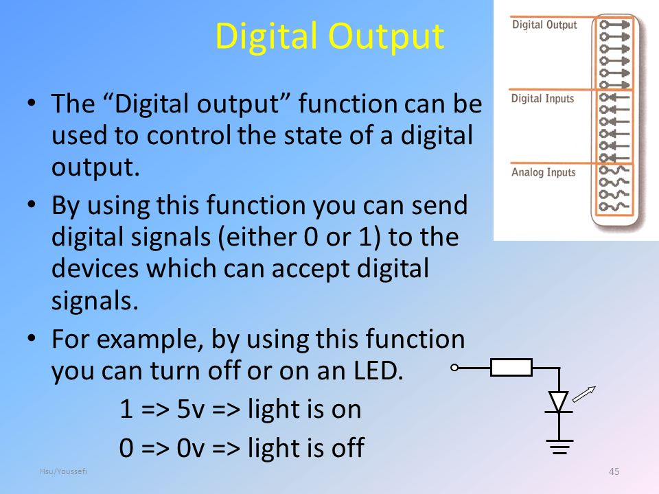 Digital Output The Digital output function can be used to control the state of a digital output.