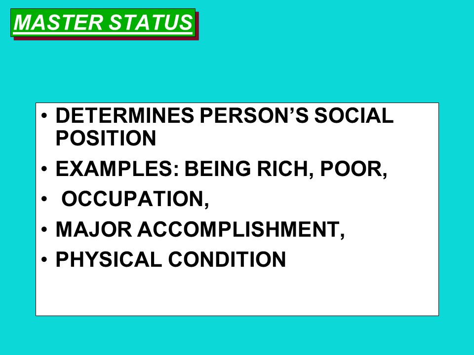 SOCIAL STATUS THE SOCIALLY DEFINED POSITION IN SOCIETY EXAMPLE: MOTHER, STUDENT, OCCUPATION ASCRIBED: STATUS DOES NOT CHANGE ACHIEVED: STATUS CAN CHAN