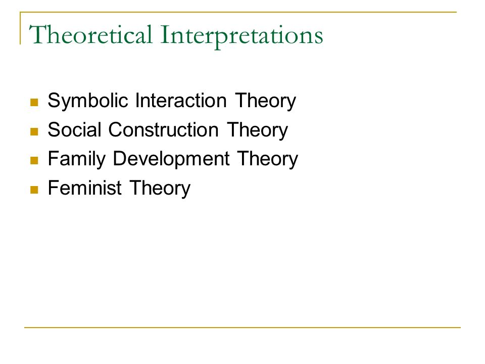 Theoretical Interpretations Symbolic Interaction Theory Social