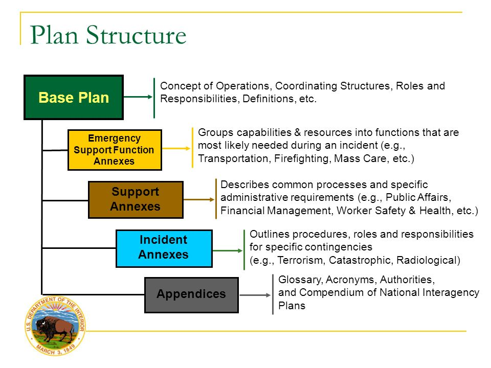 Plan Structure Support Annexes Emergency Support Function Annexes Appendices Base Plan Incident Annexes Groups capabilities & resources into functions that are most likely needed during an incident (e.g., Transportation, Firefighting, Mass Care, etc.) Describes common processes and specific administrative requirements (e.g., Public Affairs, Financial Management, Worker Safety & Health, etc.) Outlines procedures, roles and responsibilities for specific contingencies (e.g., Terrorism, Catastrophic, Radiological) Concept of Operations, Coordinating Structures, Roles and Responsibilities, Definitions, etc.