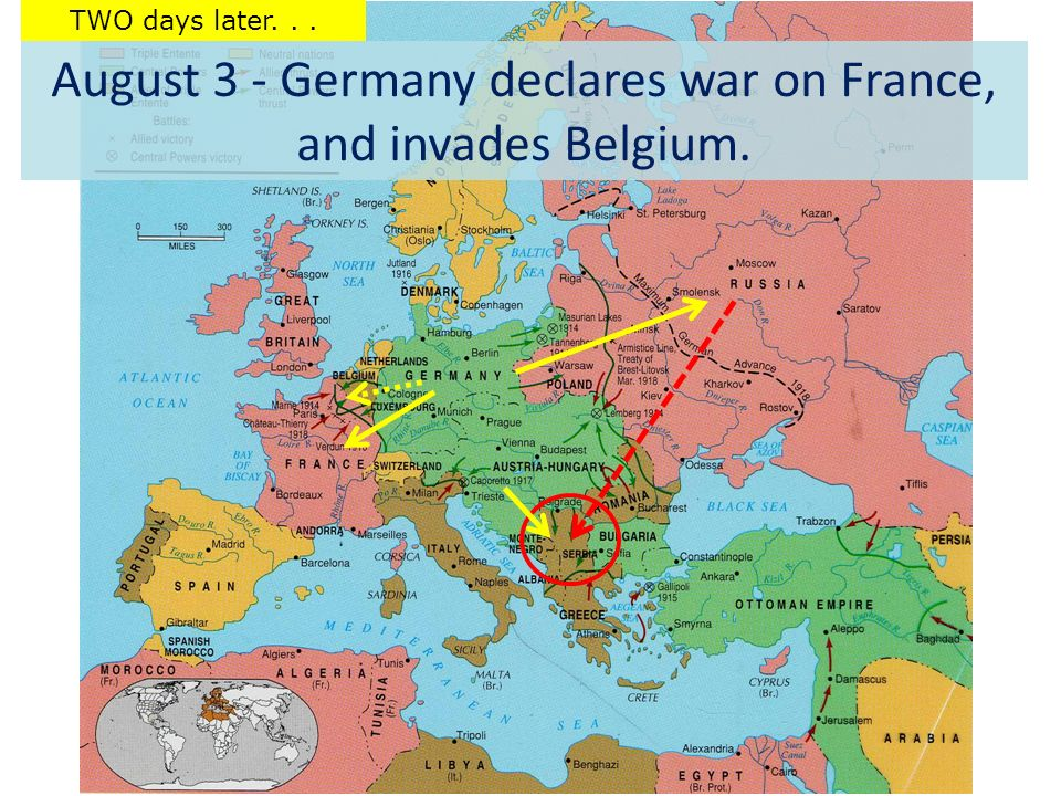 August 3 - Germany declares war on France, and invades Belgium. TWO days later...