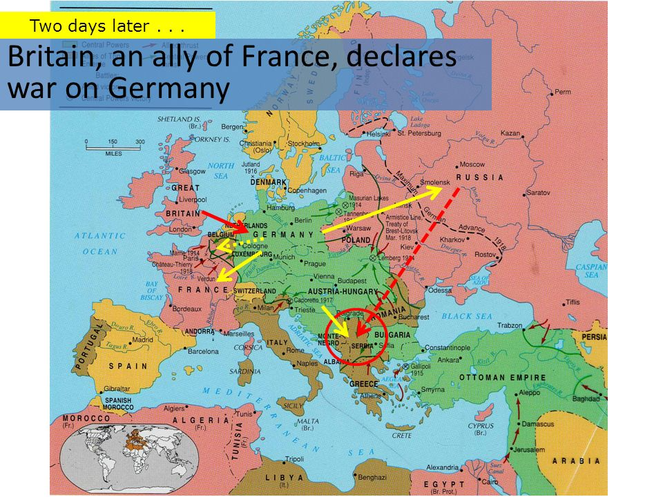 Britain, an ally of France, declares war on Germany Two days later...