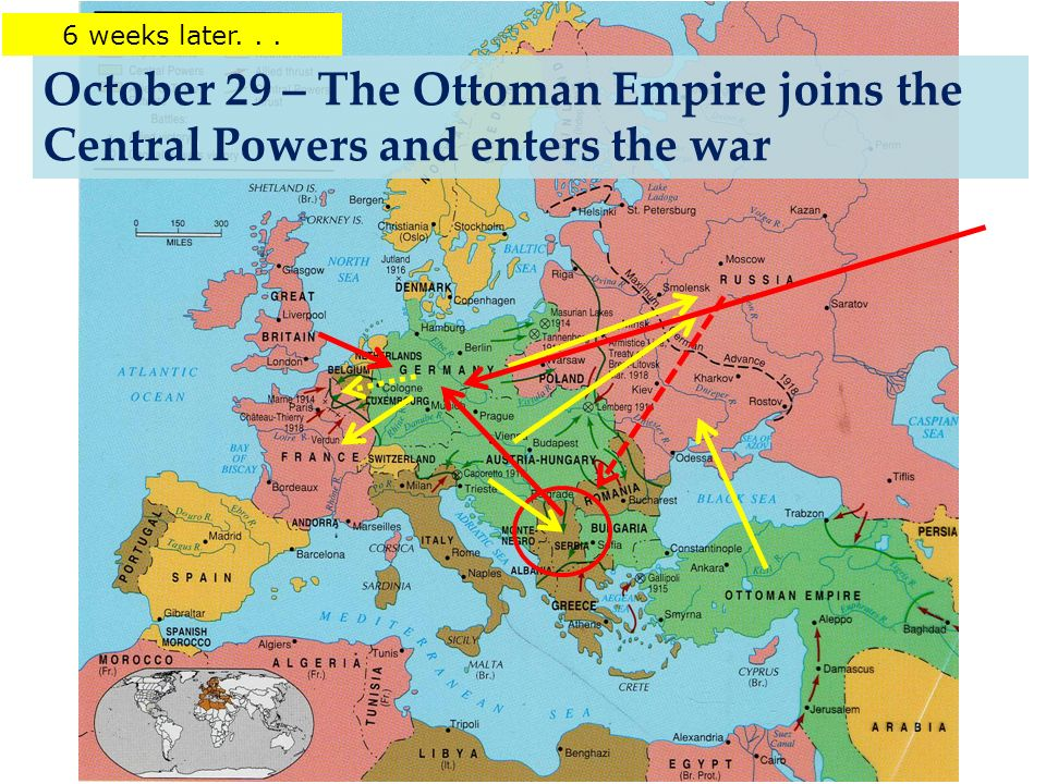 October 29 – The Ottoman Empire joins the Central Powers and enters the war 6 weeks later...