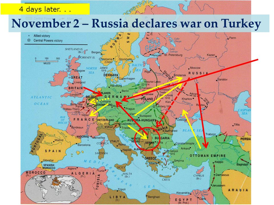 November 2 – Russia declares war on Turkey 4 days later...