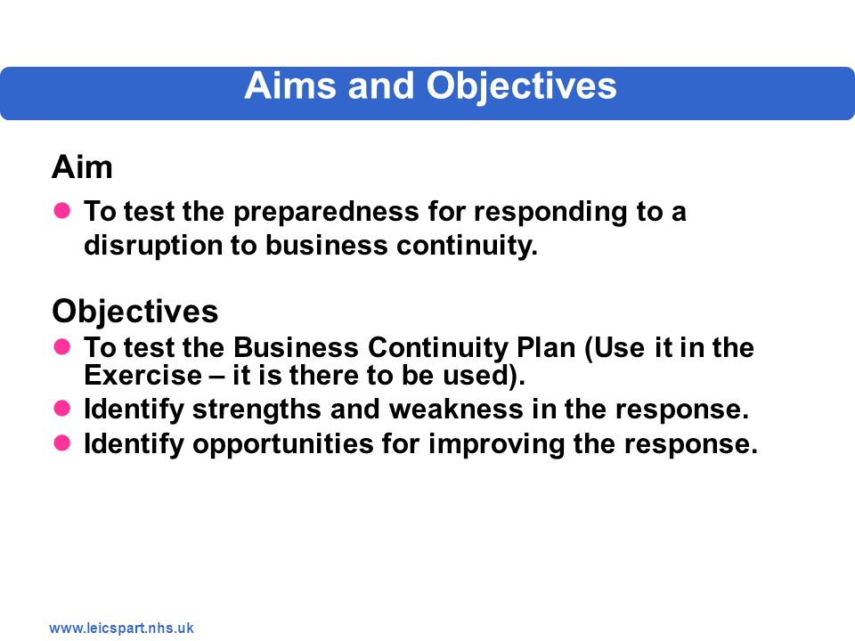 Business continuity test plan
