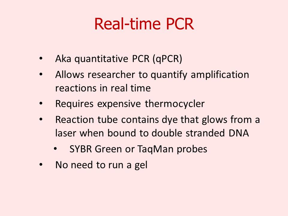 Real-time PCR Aka quantitative PCR (qPCR) Allows researcher to quantify amplification reactions in real time Requires expensive thermocycler Reaction tube contains dye that glows from a laser when bound to double stranded DNA SYBR Green or TaqMan probes No need to run a gel