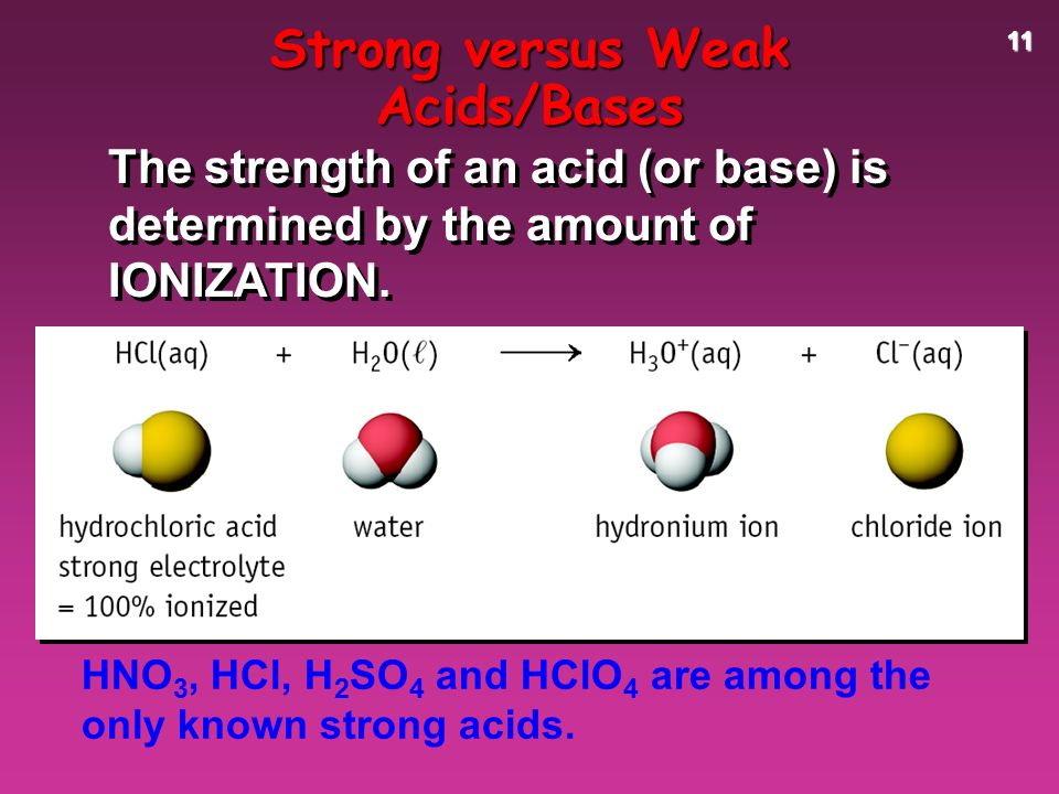 11 HNO 3, HCl, H 2 SO 4 and HClO 4 are among the only known strong acids.