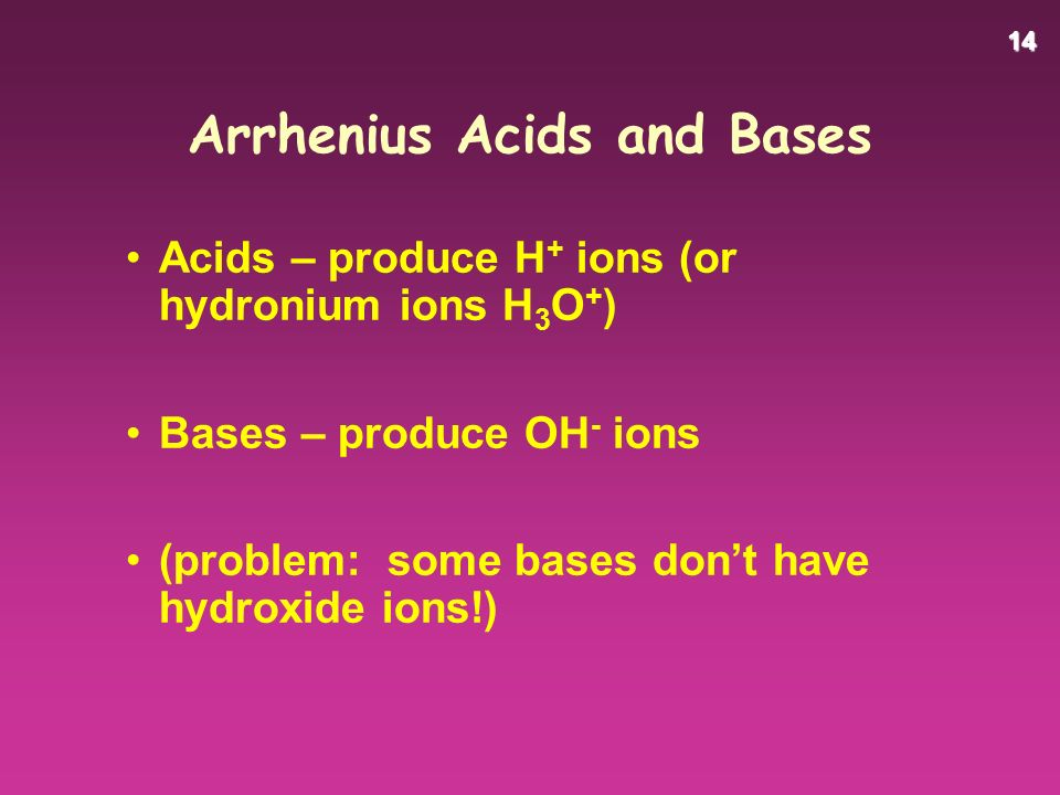 14 Arrhenius Acids and Bases Acids – produce H + ions (or hydronium ions H 3 O + ) Bases – produce OH - ions (problem: some bases don't have hydroxide ions!)