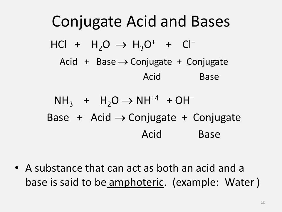 Conjugate Acid and Bases HCl + H 2 O  H 3 O + + Cl − Acid + Base  Conjugate + Conjugate AcidBase NH 3 + H 2 O  NH +4 + OH − Base + Acid  Conjugate + Conjugate AcidBase A substance that can act as both an acid and a base is said to be amphoteric.