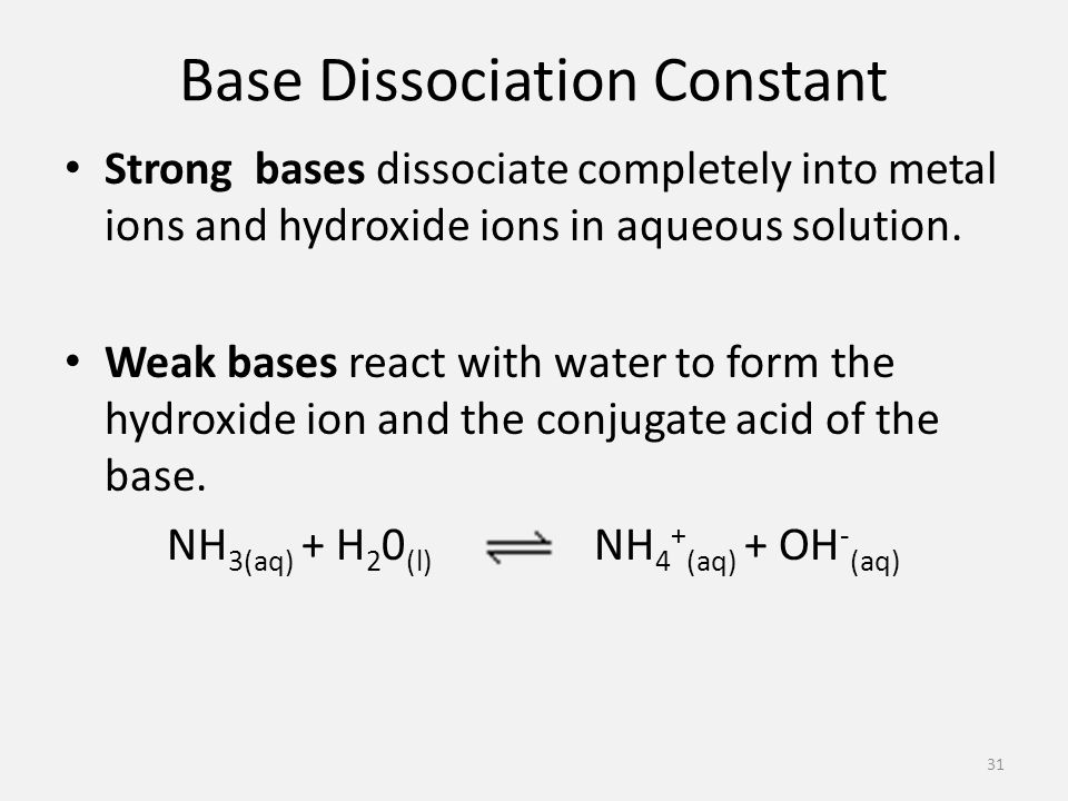 Base Dissociation Constant Strong bases dissociate completely into metal ions and hydroxide ions in aqueous solution.