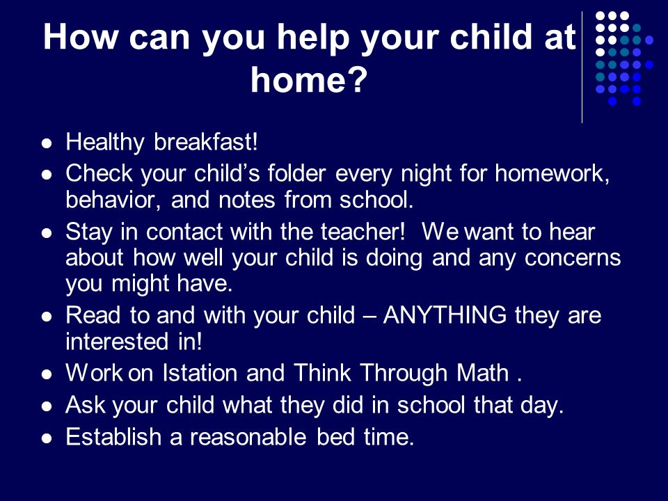 How can you help your child at home. Healthy breakfast.
