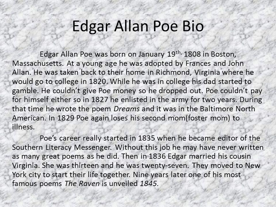 a biography of edgar allan poe born in boston massachusetts on tell tale heart Edgar allan poe biography study where was he born in boston, massachusetts what in the tell-tale heart resembles events in his life.