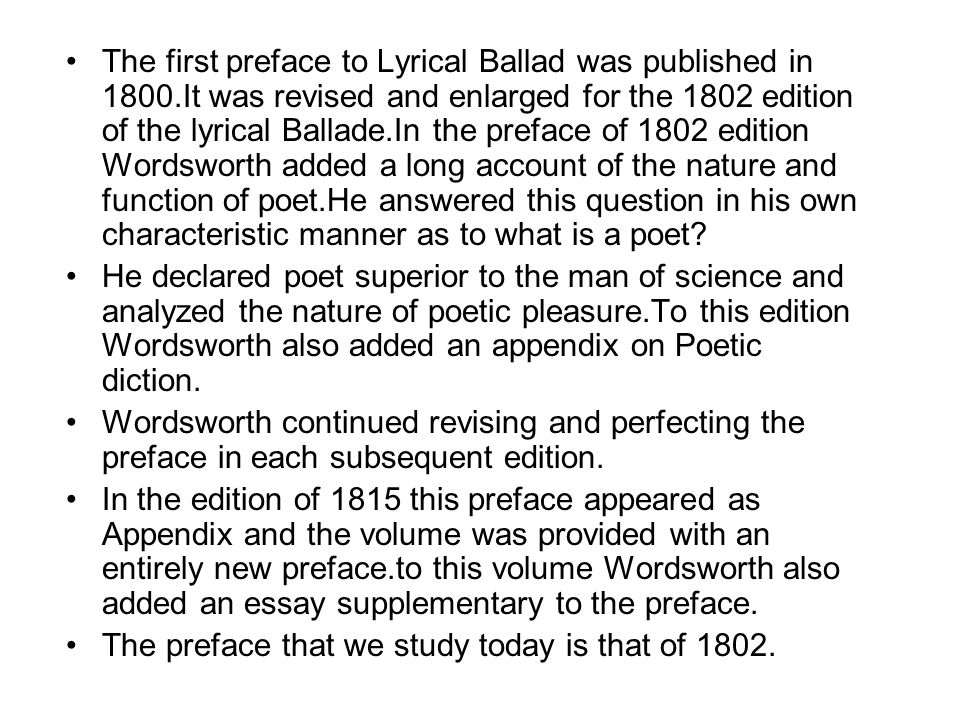 essay in aesthetics by way of a preface Wordsworth's famous definition of poetry in the 1802 preface to yet should we be so thoroughly convinced of the way romantic aesthetics.