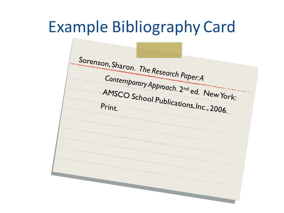 research paper bibliography cards Research paper writing guide including step-by-step instruction on picking a topic, effective research, writing, proofreading, and compiling the bibliography.