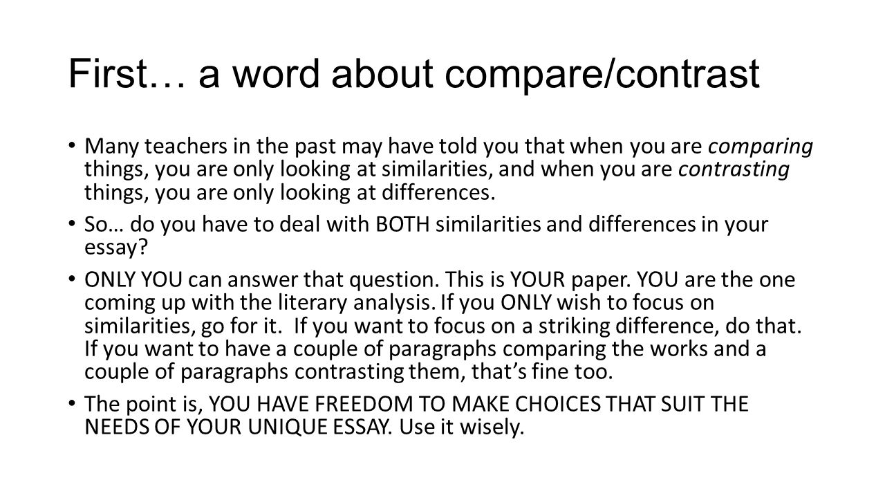 contrast essays writing a compare contrast essay about literature  also writing a compare contrast essay about literature ppt first a word about comparecontrast many teachers