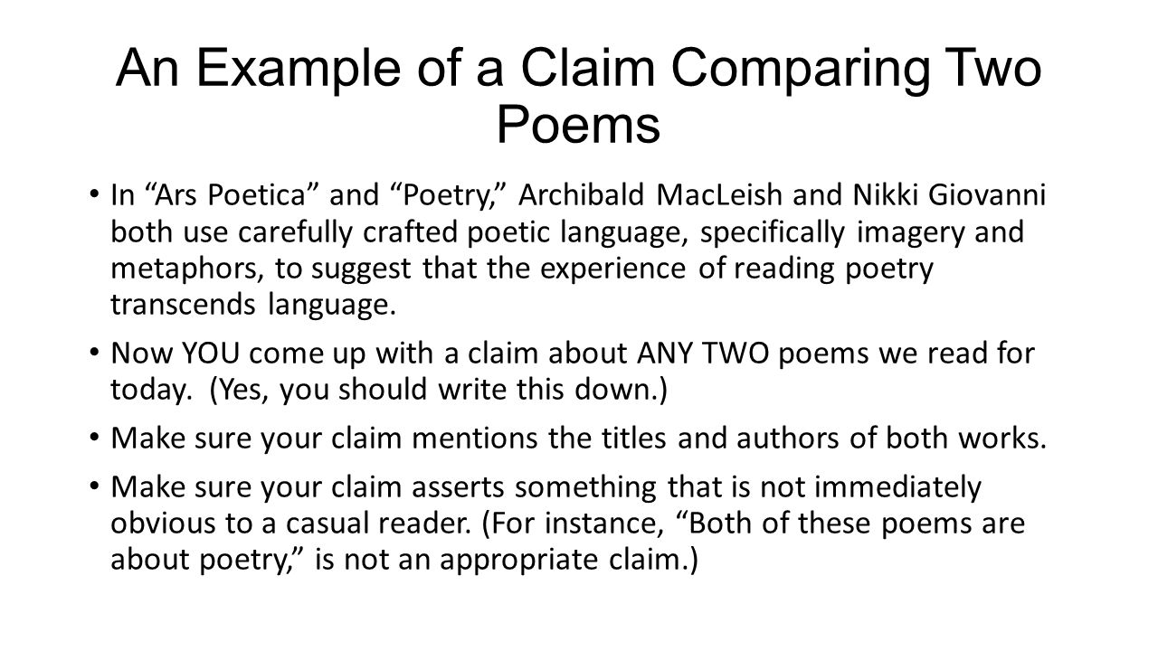 writing a compare contrast essay about literature ppt an example of a claim comparing two poems in ars poetica and poetry archibald macleish
