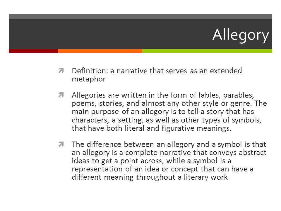 Literary Terms Week 1 Allegory Definition A Narrative That