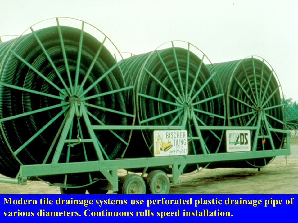 modern tile drainage systems use perforated plastic drainage pipe of various diameters