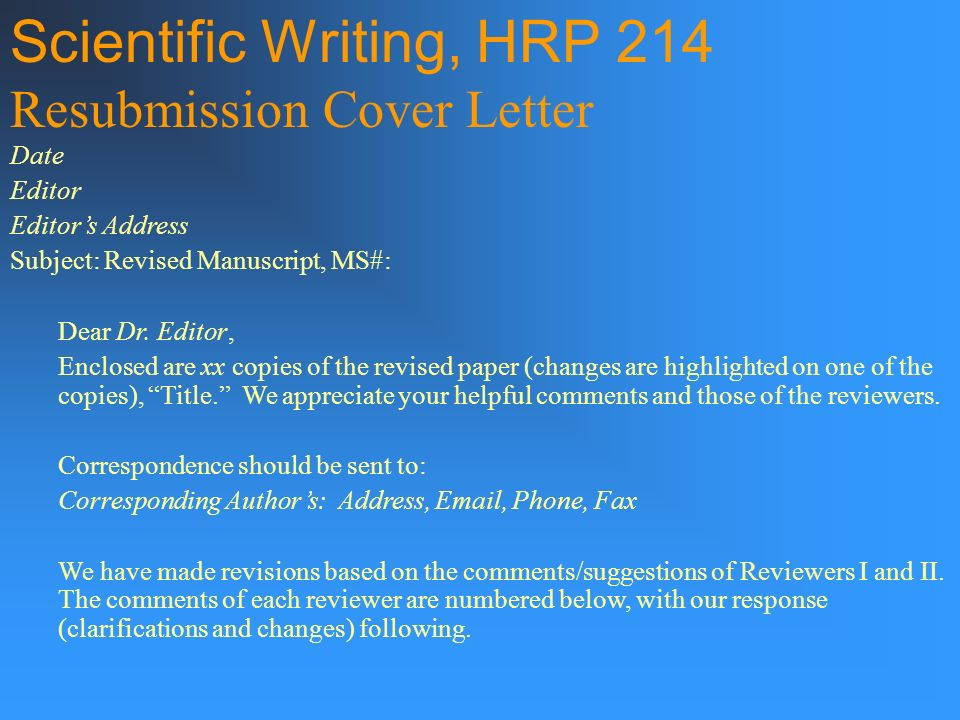 revised manuscript cover letter