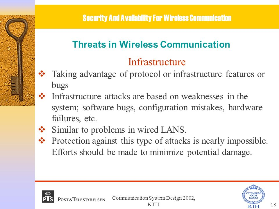 Communication System Design 2002, KTH1 Security And Availability For ...
