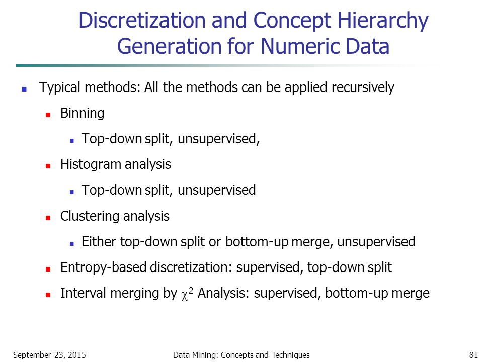 September 23, 2015Data Mining: Concepts and Techniques81 Discretization and Concept Hierarchy Generation for Numeric Data Typical methods: All the methods can be applied recursively Binning Top-down split, unsupervised, Histogram analysis Top-down split, unsupervised Clustering analysis Either top-down split or bottom-up merge, unsupervised Entropy-based discretization: supervised, top-down split Interval merging by  2 Analysis: supervised, bottom-up merge