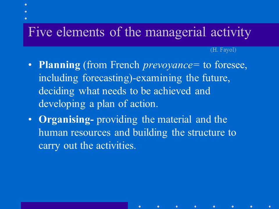 Five elements of the managerial activity (H.