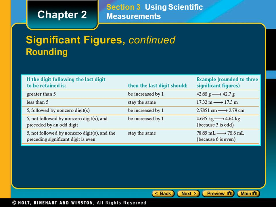 Significant Figures, continued Rounding Section 3 Using Scientific Measurements Chapter 2