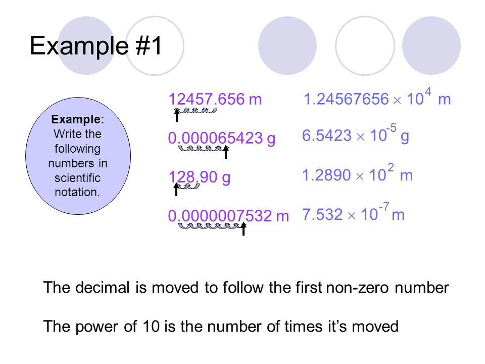 Example #1 Example: Write the following numbers in scientific notation.