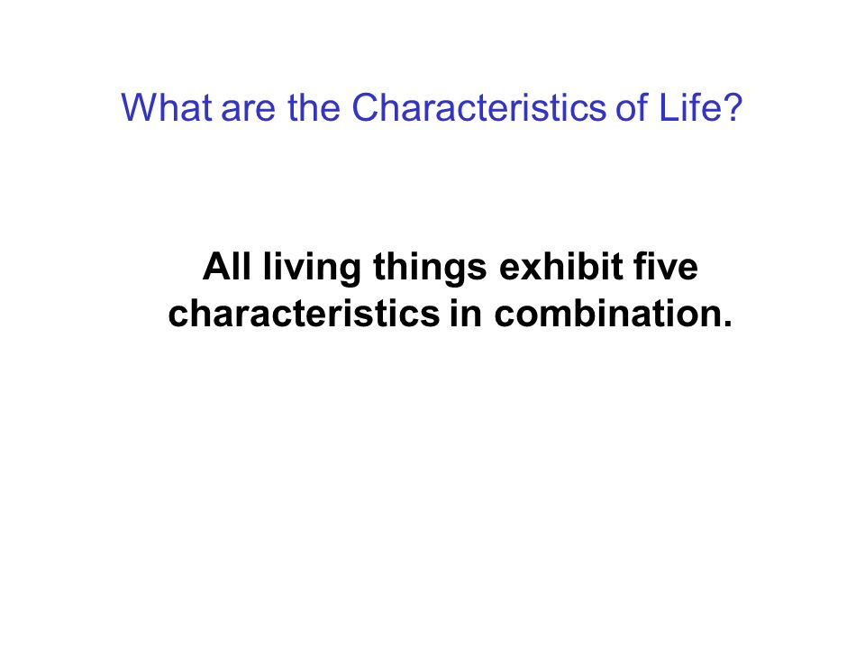 Today: Four Questions What are the Characteristics of Life.