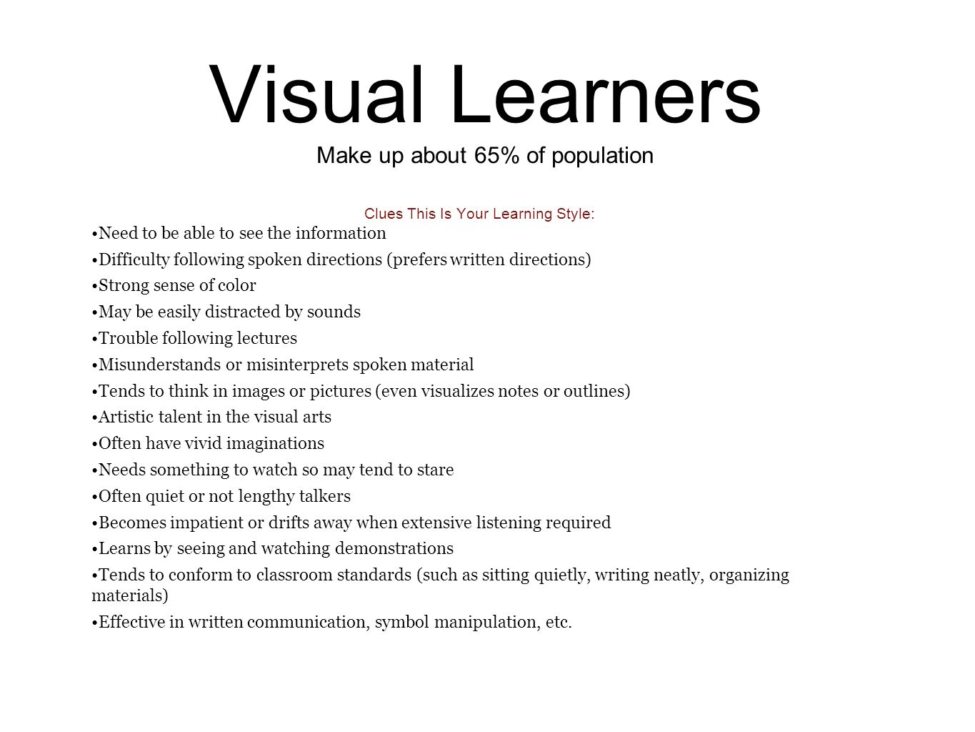 visual learning style essay visual learning style essay gxart three types of learning styles visual learn by seeing visual learners make up about of population