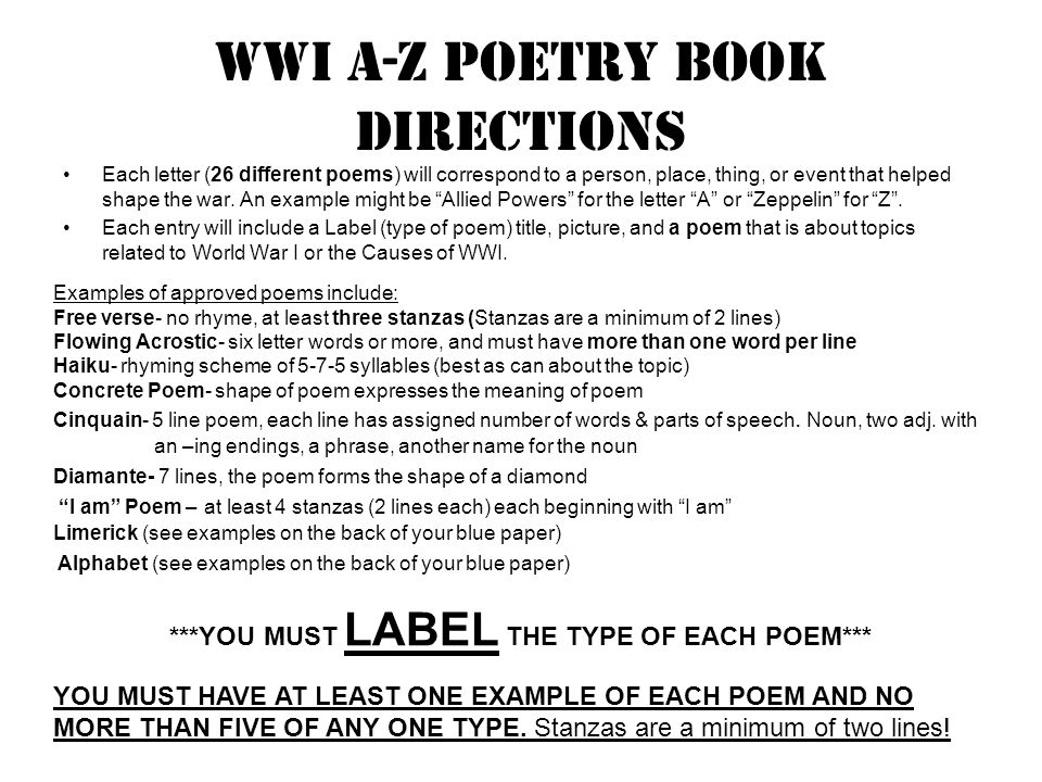 Wwi a-z poetry book directions Each letter (26 different poems) will correspond to a person, place, thing, or event that helped shape the war.