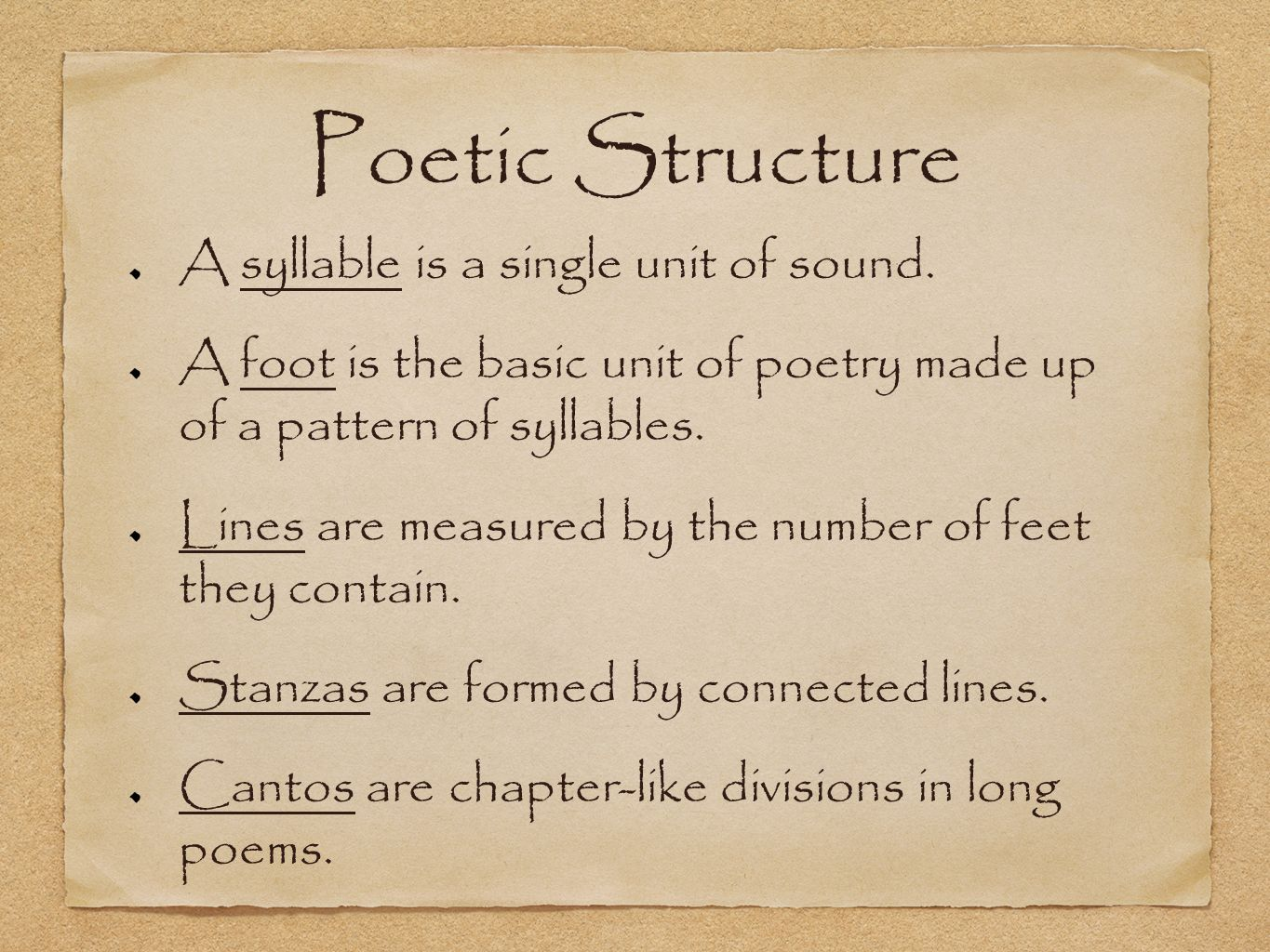 Poetry Basics. Poetic Structure A syllable is a single unit of ...