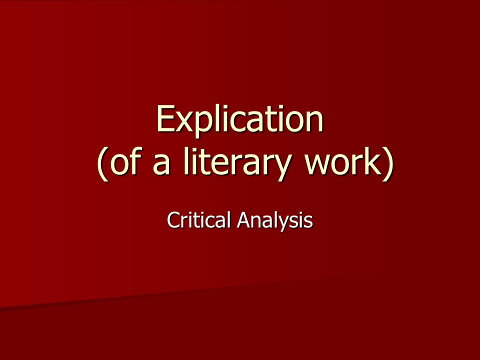 literary criticisms essay A literary analysis essay example and more a literature essay definition as a rule, most sources have the following definition of literary essays as pieces of academic writing.