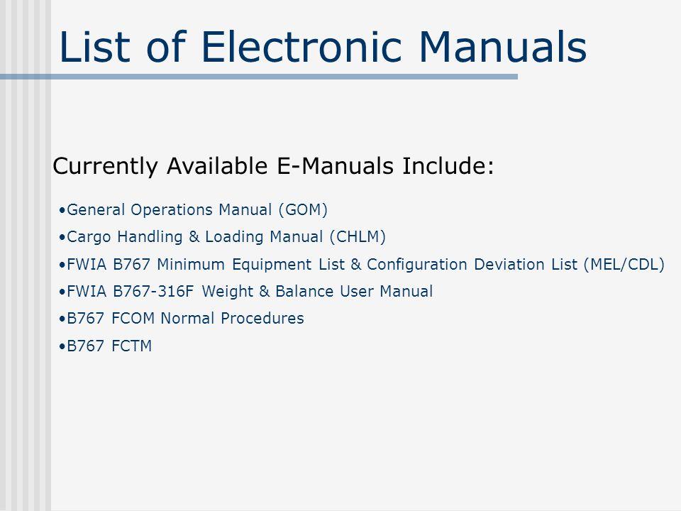 E-Manual Training Guide Electronic Manuals, called E-Manuals are ...