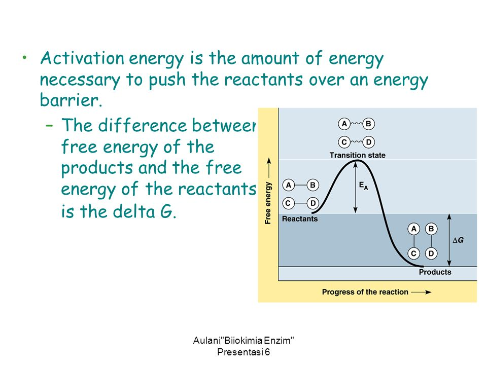 Aulani Biiokimia Enzim Presentasi 6 Activation energy is the amount of energy necessary to push the reactants over an energy barrier.