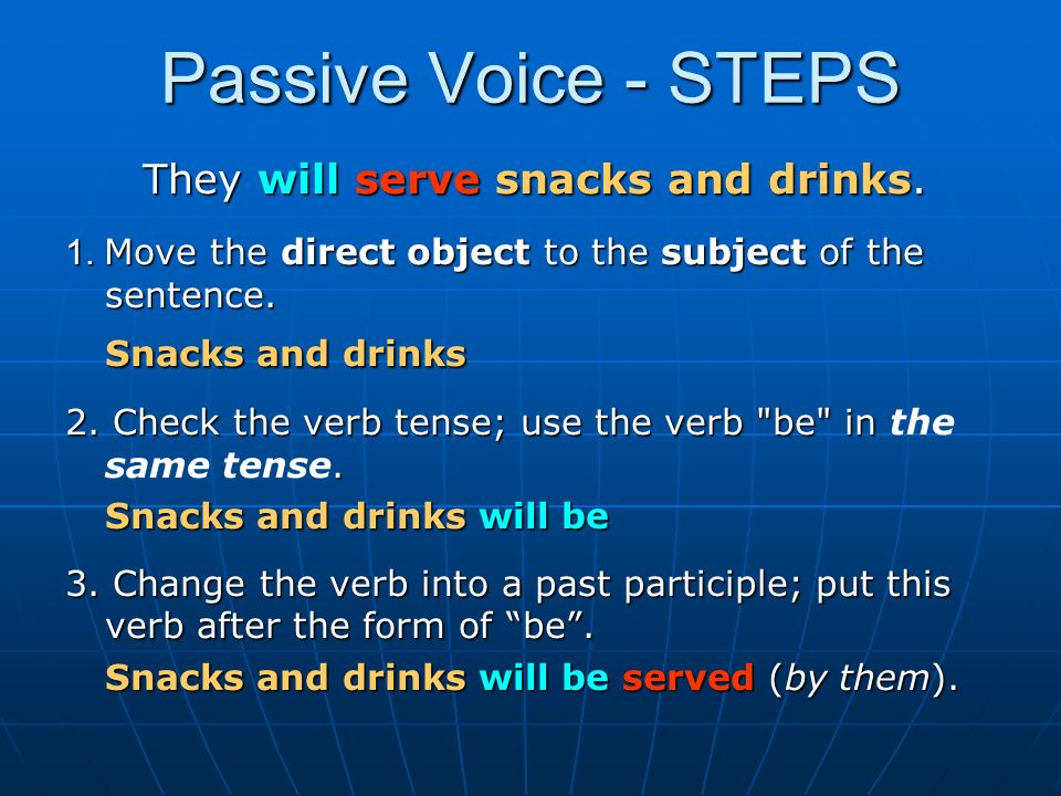 Passive Voice - STEPS They will serve snacks and drinks.