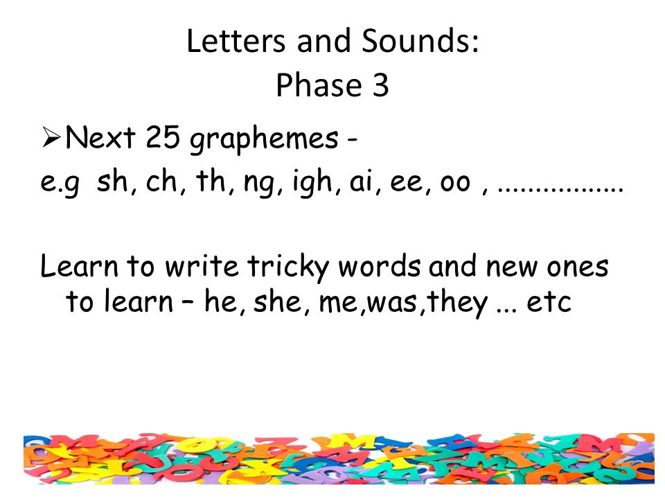 Letters and Sounds: Phase 3  Next 25 graphemes - e.g sh, ch, th, ng, igh, ai, ee, oo,