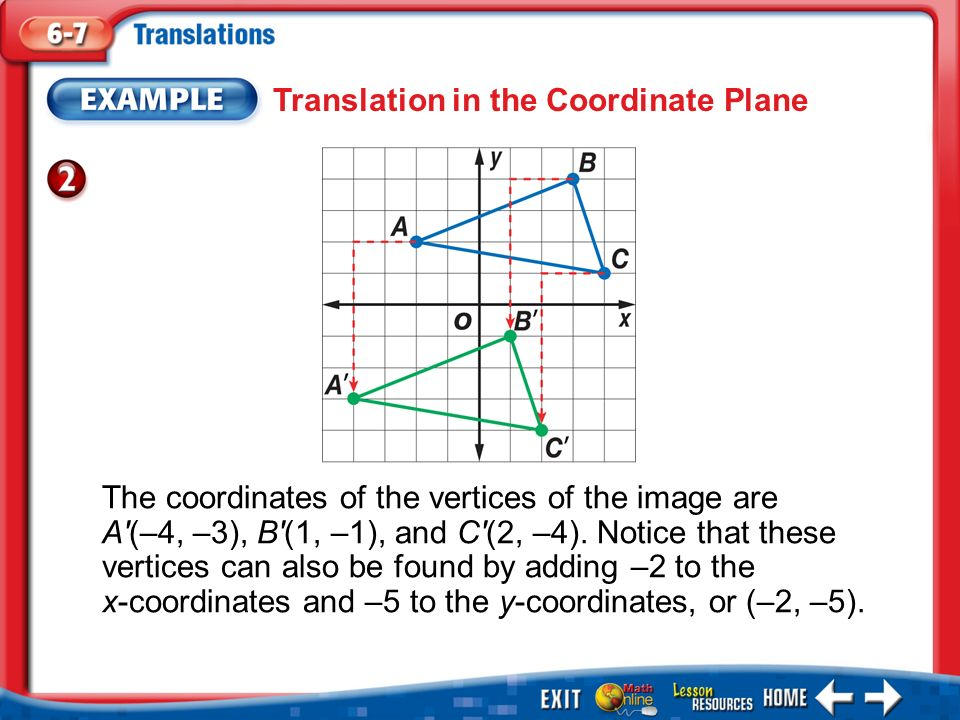 Example 2 Translation in the Coordinate Plane The coordinates of the vertices of the image are A (–4, –3), B (1, –1), and C (2, –4).
