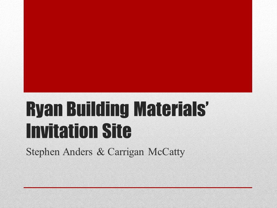 Ryan building materials invitation site stephen anders carrigan 1 ryan building materials invitation site stephen anders carrigan mccatty sciox Images