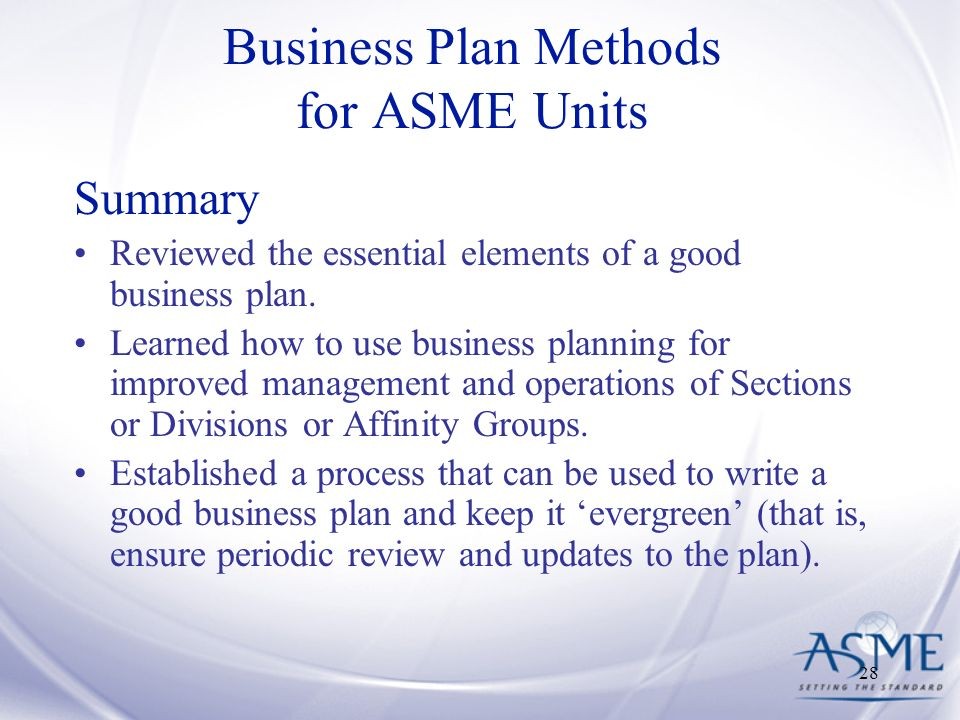 Review the business plan