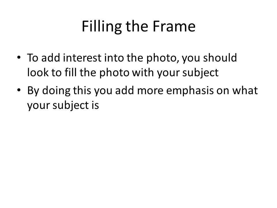 Filling the Frame To add interest into the photo, you should look to fill the photo with your subject By doing this you add more emphasis on what your subject is